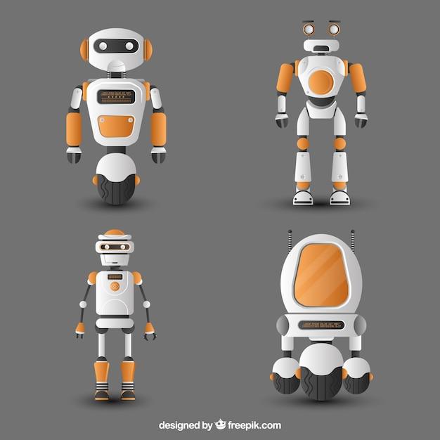Collection de personnage robot réaliste Vecteur gratuit