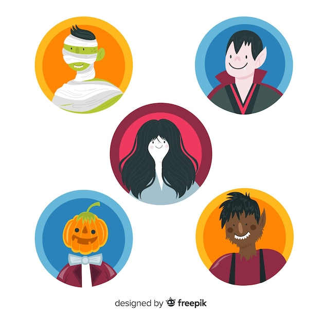 Collection de personnage ronde halloween avatar rond Vecteur gratuit