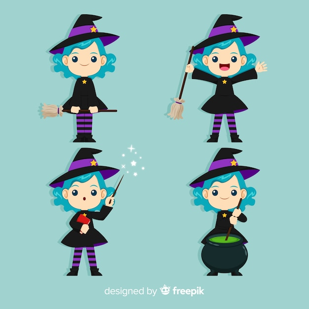 Collection De Personnage De Sorcière Halloween Avec Un Design Plat Vecteur Premium