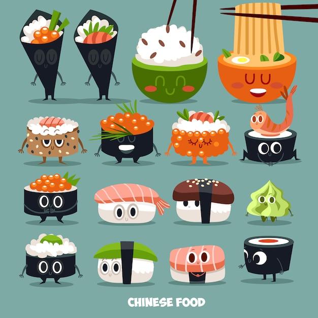 Collection de personnage sushi Vecteur Premium