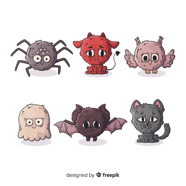 Collection de personnages animaux halloween dessinés à la main Vecteur gratuit