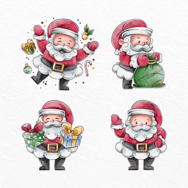 Collection De Personnages Aquarelle Santa Claus Vecteur gratuit