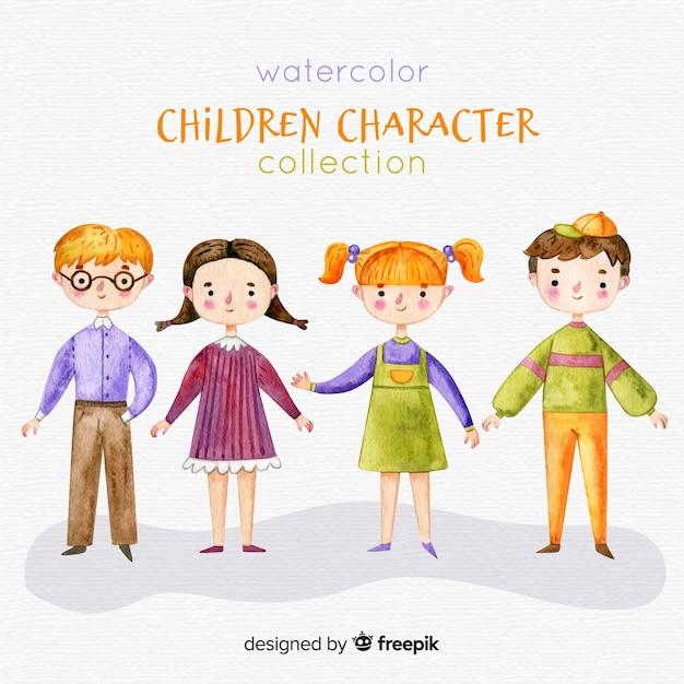 Collection de personnages aquarelle Vecteur gratuit