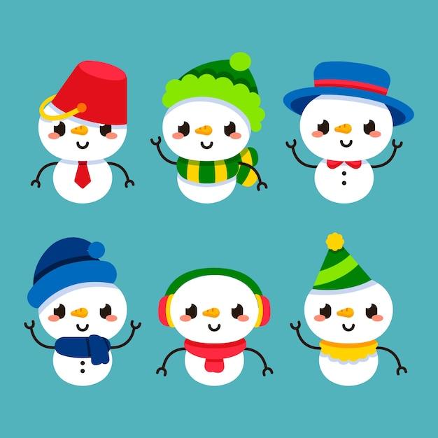 Collection de personnages bonhomme de neige design plat Vecteur gratuit