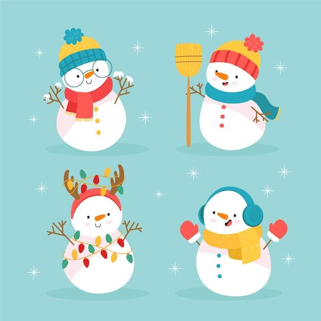 Collection de personnages de bonhomme de neige dessinés à la main Vecteur gratuit
