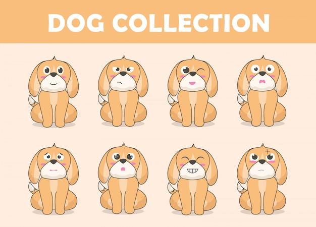 Collection de personnages de chien mignon Vecteur Premium