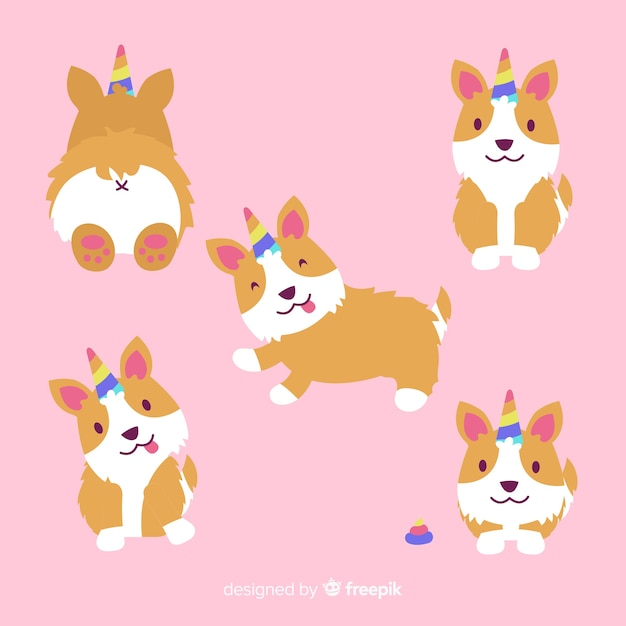 Collection de personnages de chiots kawaii Vecteur gratuit