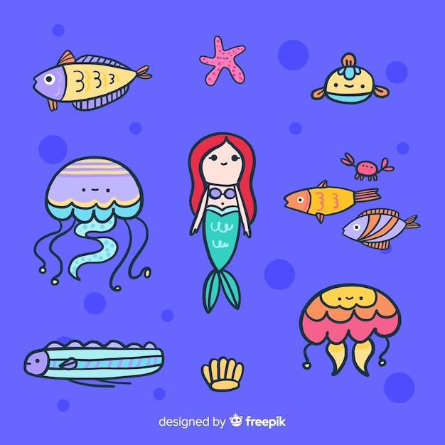 Collection de personnages colorés de la vie marine Vecteur gratuit