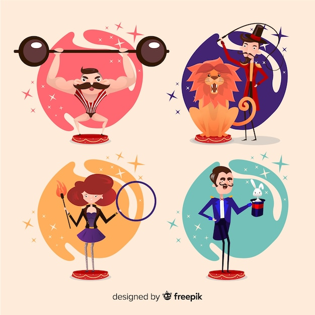 Collection de personnages de costumes de carnaval Vecteur gratuit