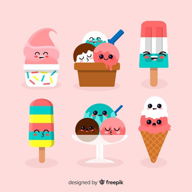 Collection de personnages de la crème glacée kawaii Vecteur gratuit