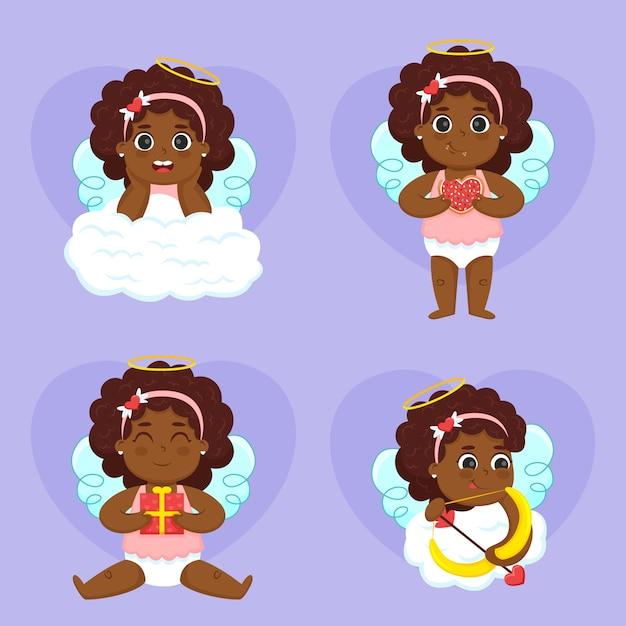 Collection De Personnages De Cupidon Plats Vecteur gratuit
