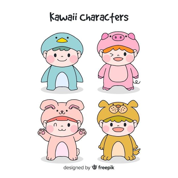 Collection de personnages déguisés kawaii dessinés à la main Vecteur gratuit