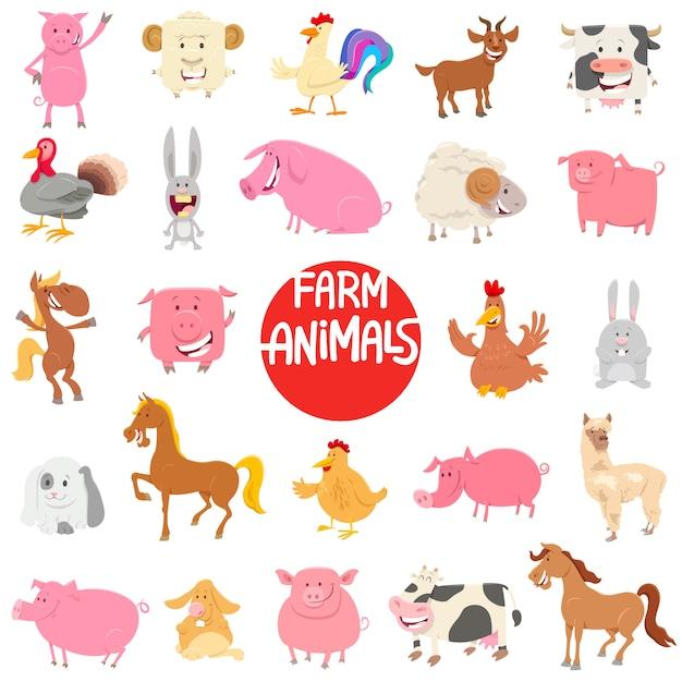 Collection de personnages de dessin animé animaux de ferme Vecteur Premium