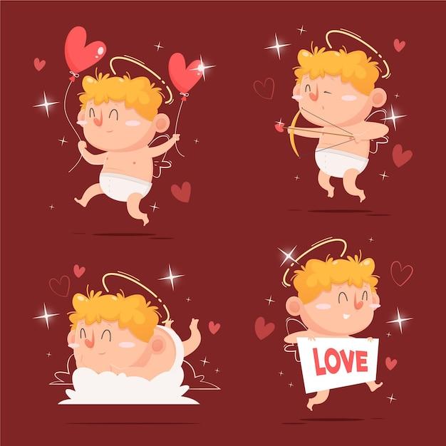 Collection De Personnages De Dessin Animé Cupidon Vecteur gratuit