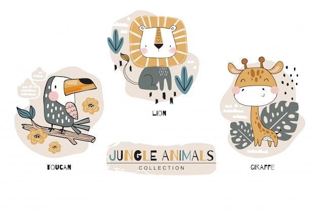 Collection De Personnages De Dessins Animés Bébé Mignon. Ensemble De La Jungle. Icône Illustration Design Dessiné à La Main Vecteur Premium