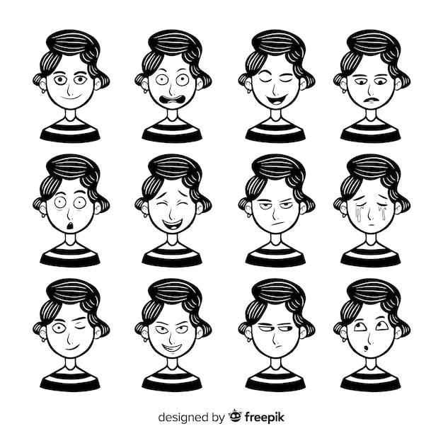 Collection de personnages avec différentes expressions faciales Vecteur gratuit