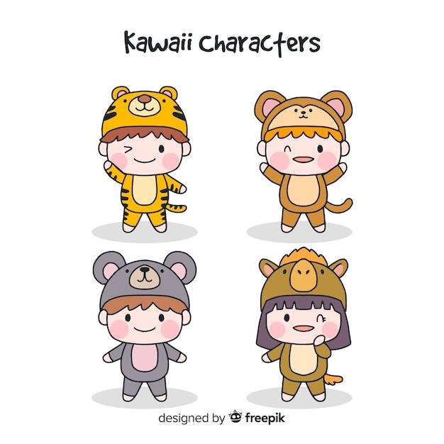 Collection de personnages drôles dessinés à la main Vecteur gratuit