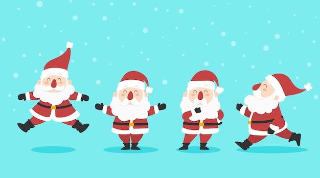 Collection De Personnages Du Père Noël Au Design Plat Vecteur gratuit