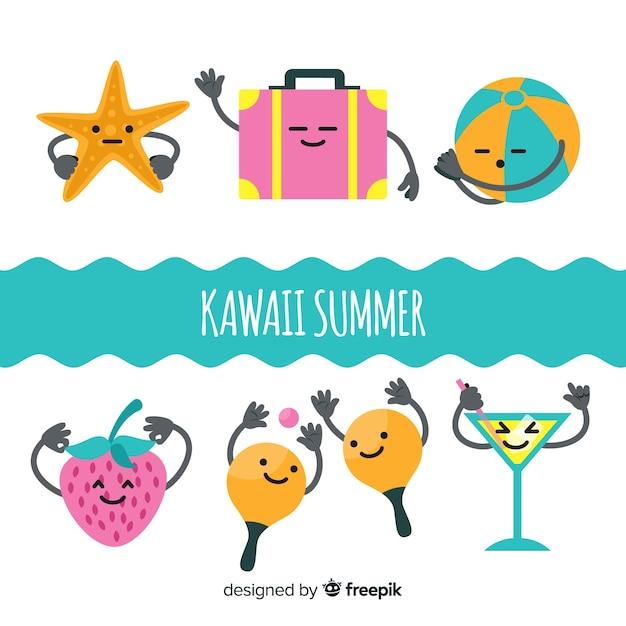 Collection de personnages d'été kawaii dessinés à la main Vecteur gratuit