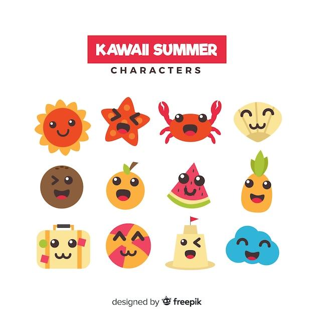 Collection de personnages d'été kawaii Vecteur gratuit