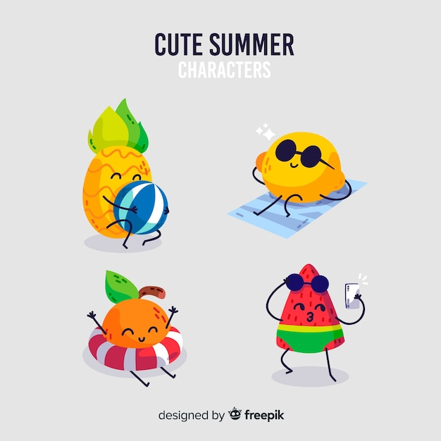 Collection De Personnages D'été Style Kawaii Vecteur gratuit