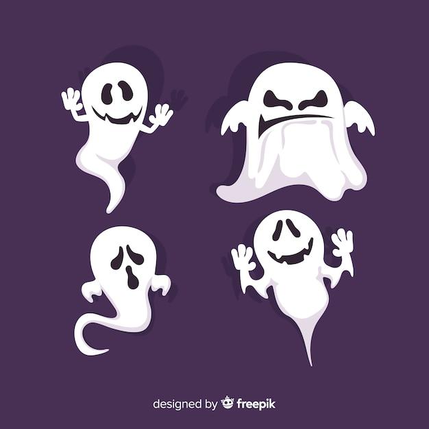 Collection de personnages fantômes d'halloween avec un design plat Vecteur gratuit