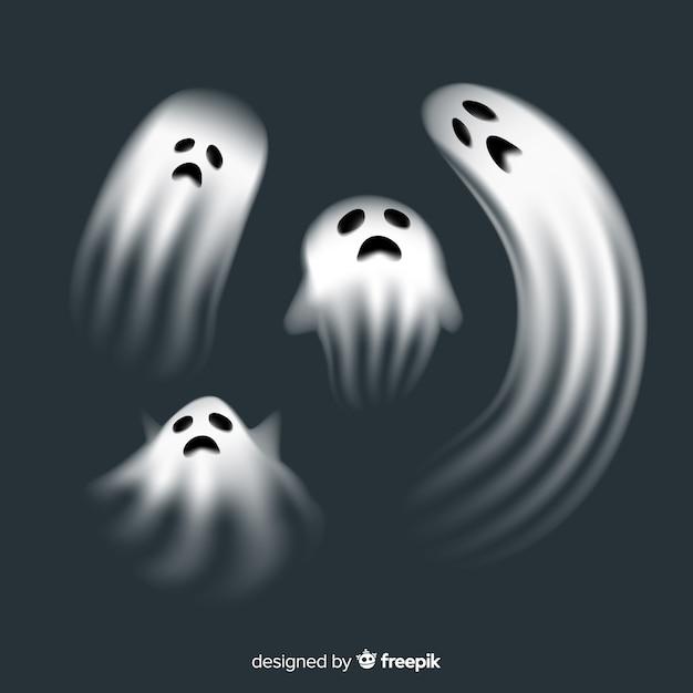 Collection de personnages fantômes d'halloween avec un design réaliste Vecteur gratuit