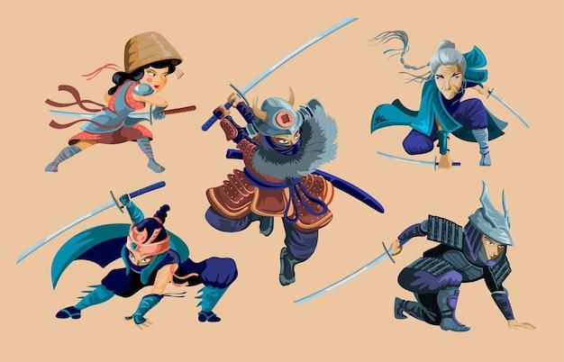Collection Avec Des Personnages De Guerriers Ninja, Samouraï, Fille Japonaise Et Vieille Femme.cartoon Ninja Samurai Guerriers Avec Jeu De Caractères D'épée. Illustration Isolée. Vecteur Premium