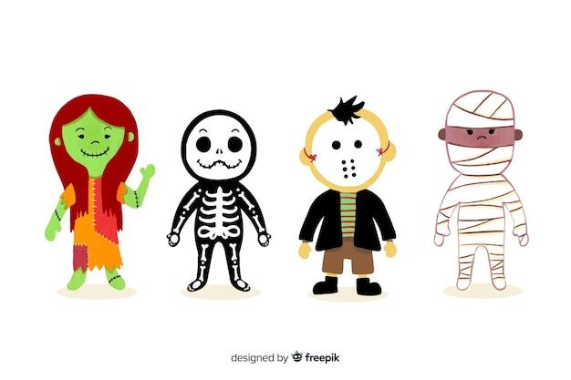 Collection de personnages halloween aquarelle Vecteur gratuit