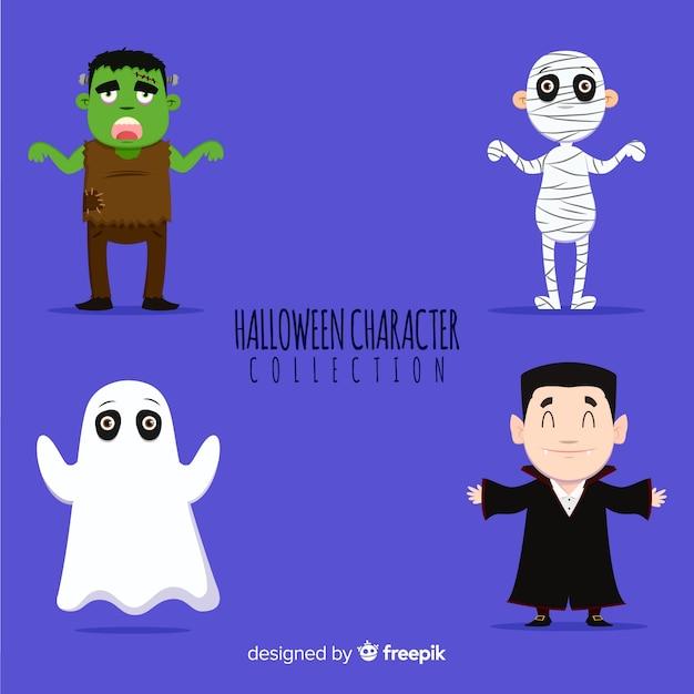 Collection de personnages d'halloween classique au design plat Vecteur gratuit