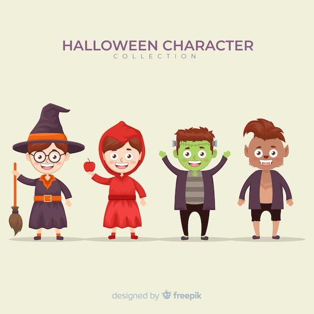 Collection de personnages d'halloween sur design plat Vecteur gratuit