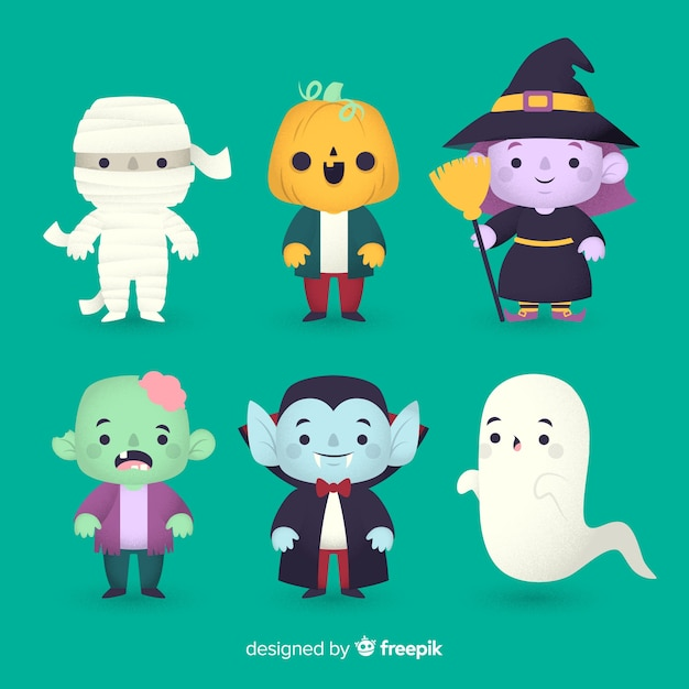 Collection De Personnages Halloween Design Plat Vecteur gratuit