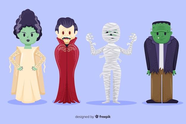 Collection De Personnages De Halloween Dessinés à La Main Vecteur gratuit