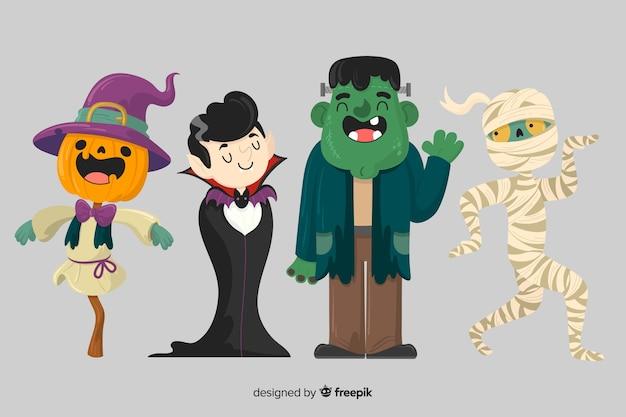 Collection de personnages halloween dessinés à la main Vecteur gratuit