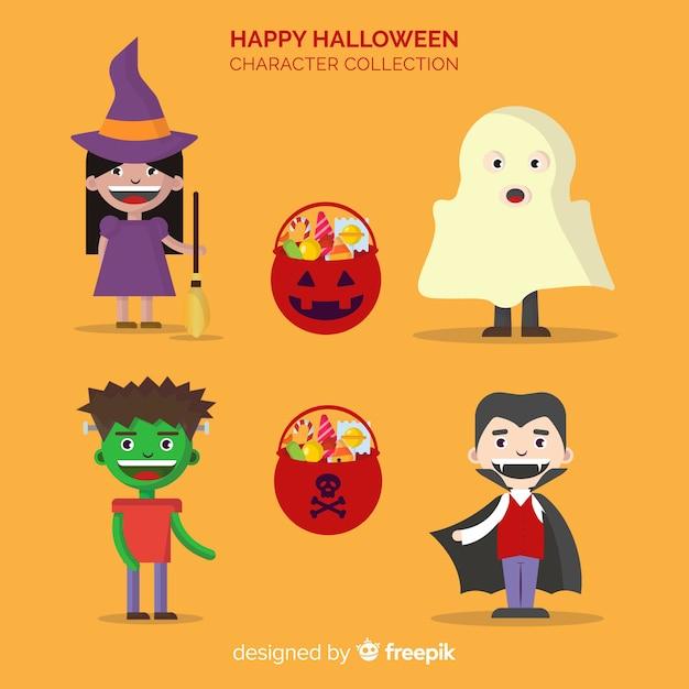 Collection de personnages de halloween heureux dans desing plat Vecteur gratuit