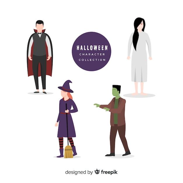 Collection de personnages halloween plat Vecteur gratuit