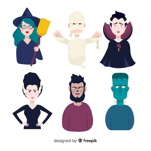 Collection de personnages halloween plats Vecteur gratuit