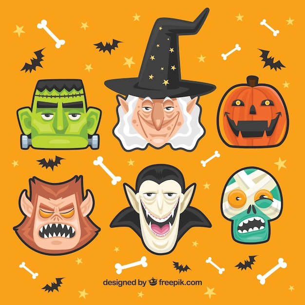 Collection de personnages de halloween Vecteur gratuit