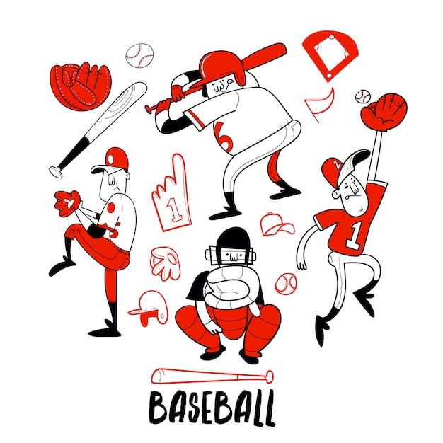 Collection De Personnages De Joueur De Baseball Vecteur Premium