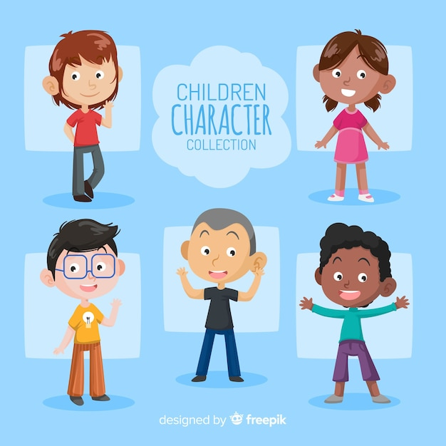 Collection de personnages de jour pour enfants dessinés à la main Vecteur gratuit