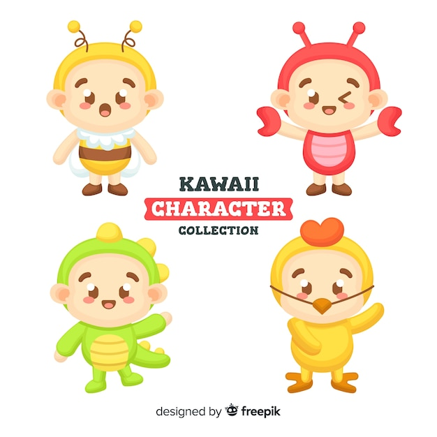 Collection de personnages kawaii Vecteur gratuit