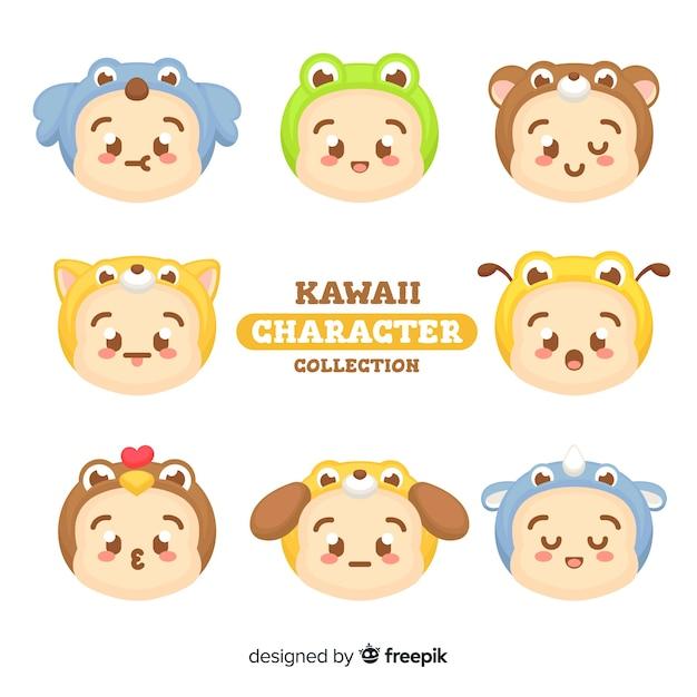 Collection de personnages kawaii Vecteur gratuit
