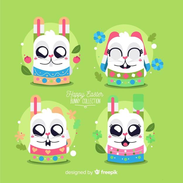Collection de personnages de lapin de pâques Vecteur gratuit