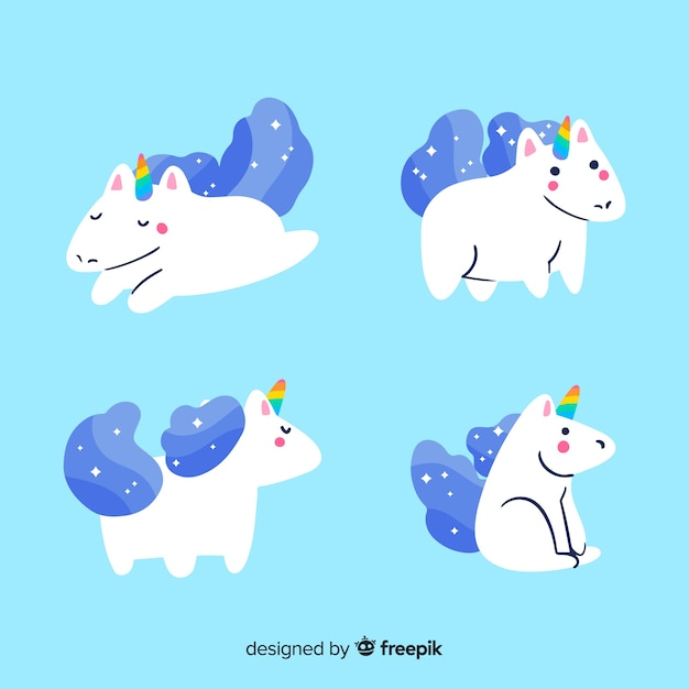 Collection de personnages de licorne bleue kawaii Vecteur gratuit