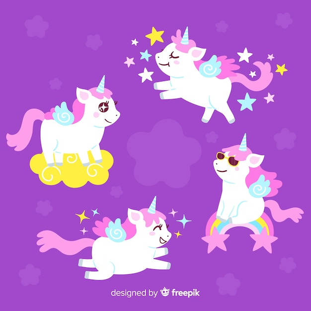 Collection de personnages de licorne kawaii Vecteur gratuit