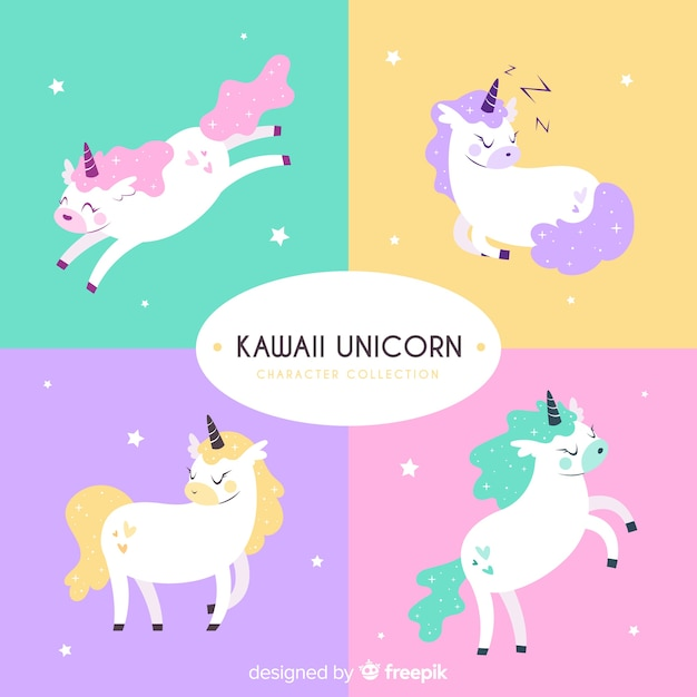 Collection de personnages de licorne kawaii Vecteur gratuit