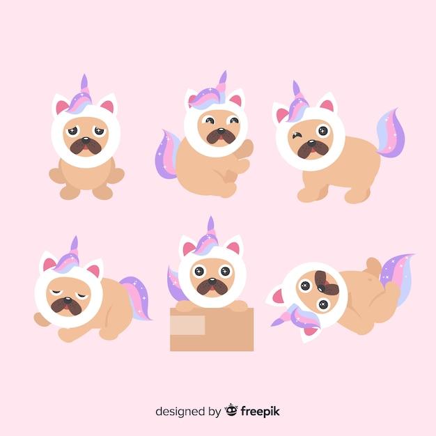 Collection de personnages de licorne mignons de kawaii Vecteur gratuit