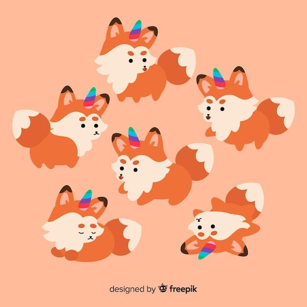Collection de personnages de licorne renard kawaii Vecteur gratuit