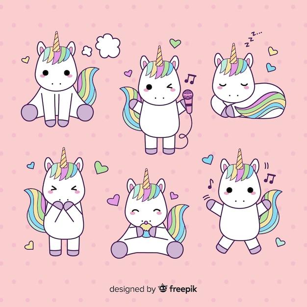Collection de personnages de licorne de style kawaii Vecteur gratuit
