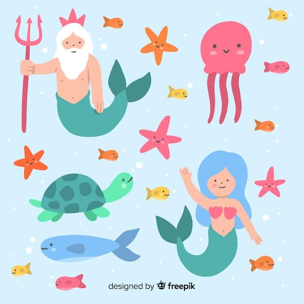 Collection de personnages marins dessinés à la main Vecteur gratuit